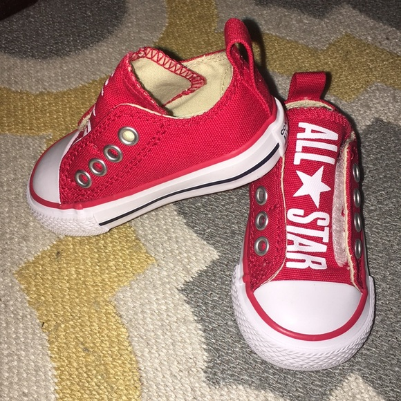 0a13326badf1bc Converse Shoes | Red Slip On Velcro Size 3 | Poshmark